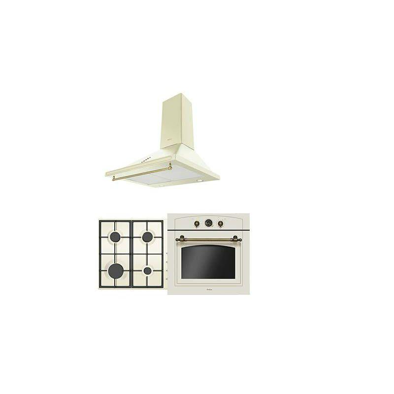 Amica ploča za kuhanje + napa + ugradbena pećnica, retro, bež