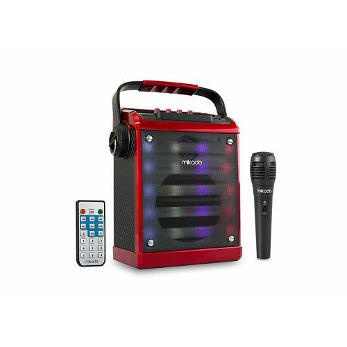 Bluetooth zvučnik, karaoke MIKADO MD-71KP, mikrofon, daljinski upravljač, crveni
