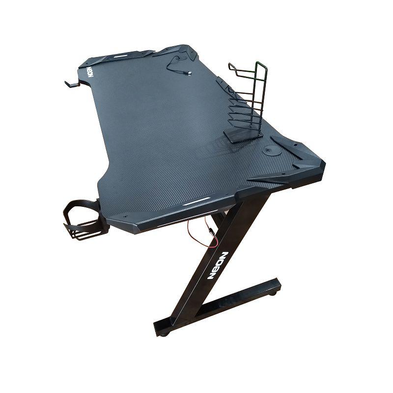 Gaming stol NEON eSports Gamer PRO, LED RGB, držač za čašu, držač za slušalice, držač za gamepad, 140cm, crni