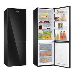 Samostojeći hladnjak Amica FK321.6GBDFAA, A++, NoFrost, kombinirani, crni, staklena fronta