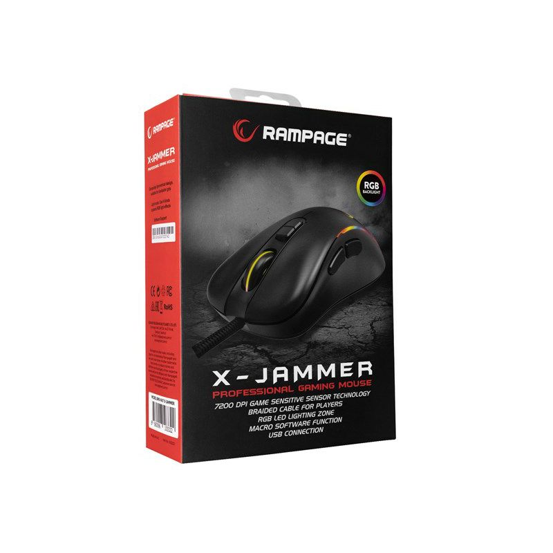 Miš RAMPAGE X-Jammer SMX-R47, žičani, RGB, 7200 DPI, crni