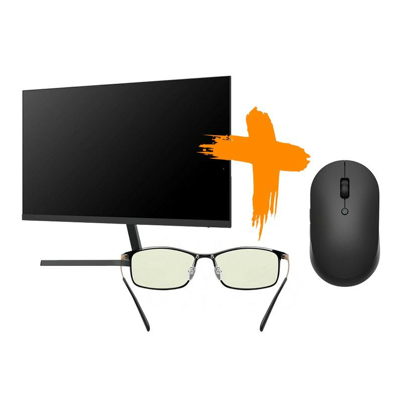 Monitor Mi 23.8'' Desktop Monitor 1C+Xiaomi Mi Computer Glasses (Black)+Xiaomi Mi DualMode Wireless Mouse Silent Edt Black