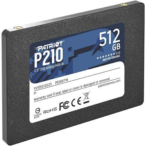 "Patriot SSD P210 R520/W430, 512GB, 7mm, 2.5"""