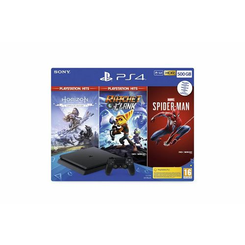 PlayStation 4 500GB + Marvel's Spiderman/Horizon Zero Dawn Complete Edition/Ratchet and Clank Hits bundle