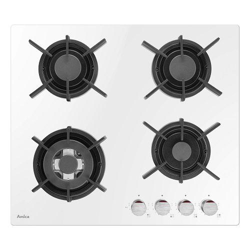 Ploča za kuhanje Amica, DP 6410 LZWG, 4 plina, staklokeramika, bijela