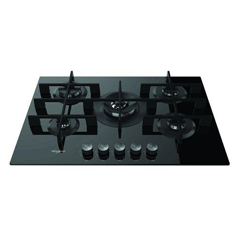 Ploča za kuhanje Whirlpool GOW 7523/NB, 75 cm, staklokeramika, 5 x plin, crna