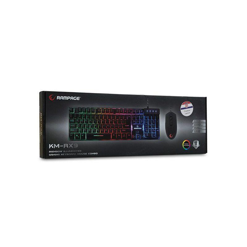 Set RAMPAGE KM-RX9 tipkovnica + miš, LED, UK/HR layout, crna