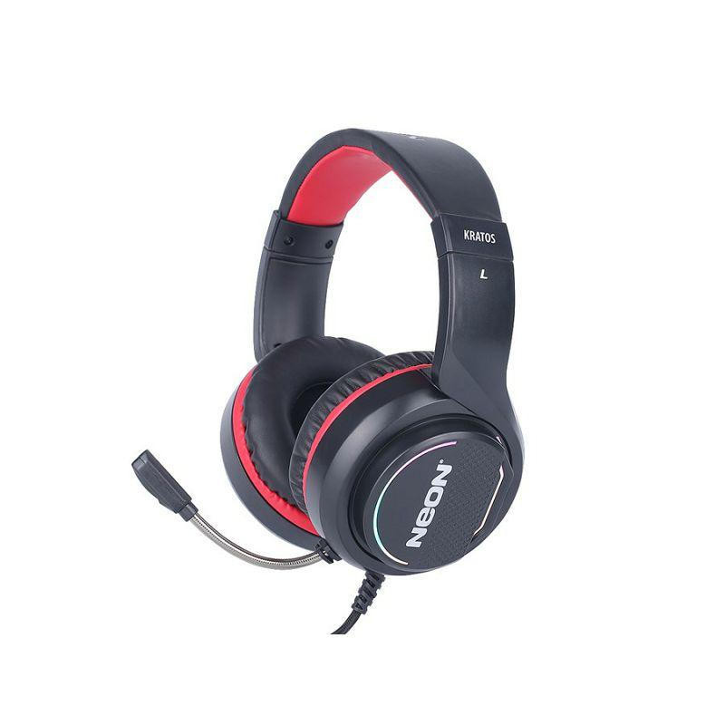 Slušalice + mikrofon NEON KRATOS, crno - crvene, 7,1, LED RGB, USB