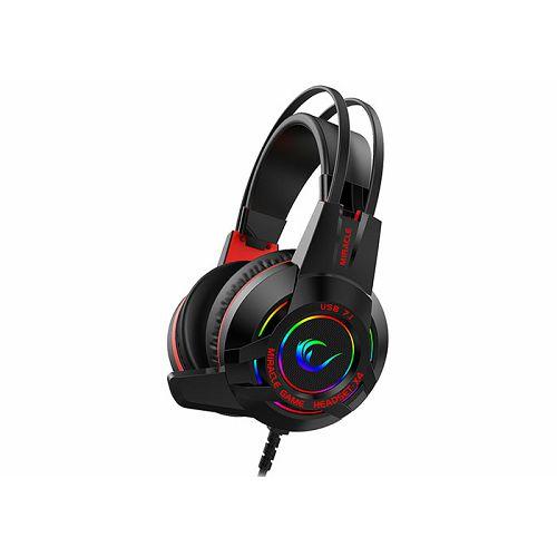 Slušalice RAMPAGE Miracle-X4, mikrofon, RGB, 7.1 Surround sound, PC/PS4, crne