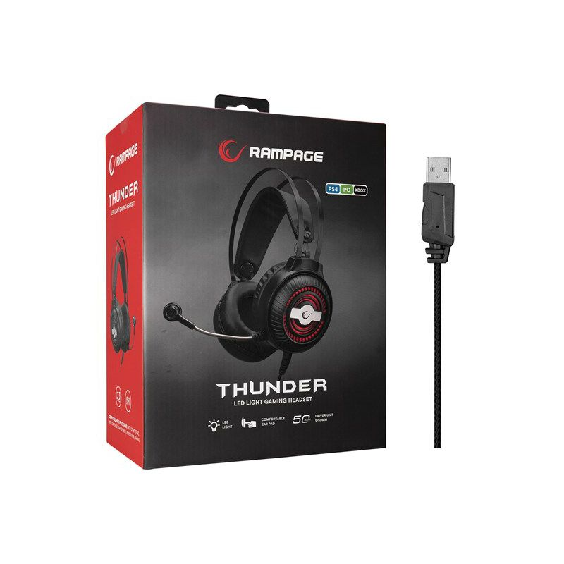 Slušalice RAMPAGE RM-K29 Thunder, mikrofon, LED, stereo, PC/PS4/PS5, crne