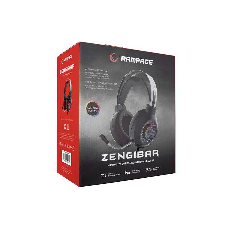 Slušalice RAMPAGE RM-K44 Zengibar, mikrofon, 7.1, RGB, PC/PS4/PS5, USB, crne