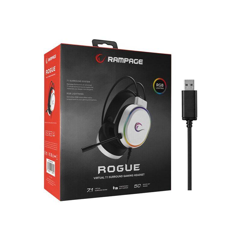 Slušalice RAMPAGE Rogue, mikrofon, RGB, 7.1 Surround Sound, PC/PS4/PS5, USB, bijele