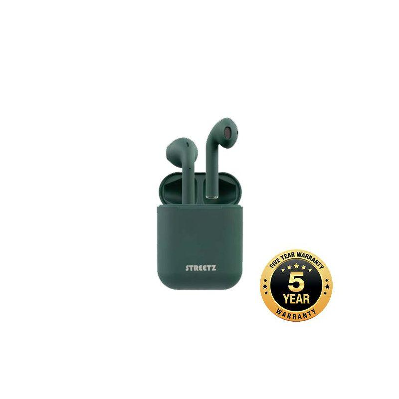 Slušalice STREETZ TWS-0010, mikrofon, Bluetooth, TWS, mat zelene