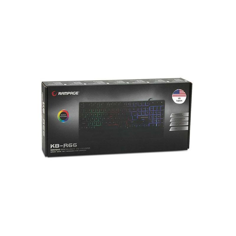 Tipkovnica RAMPAGE KB-R66, LED, US/HR layout, crna