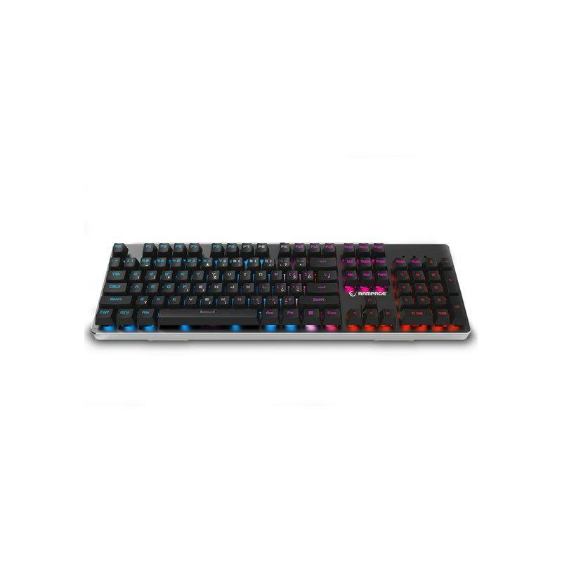 Tipkovnica RAMPAGE Mithril Pro KB-RX8, mechanical feeling, LED, US/HR layout, siva, metalna