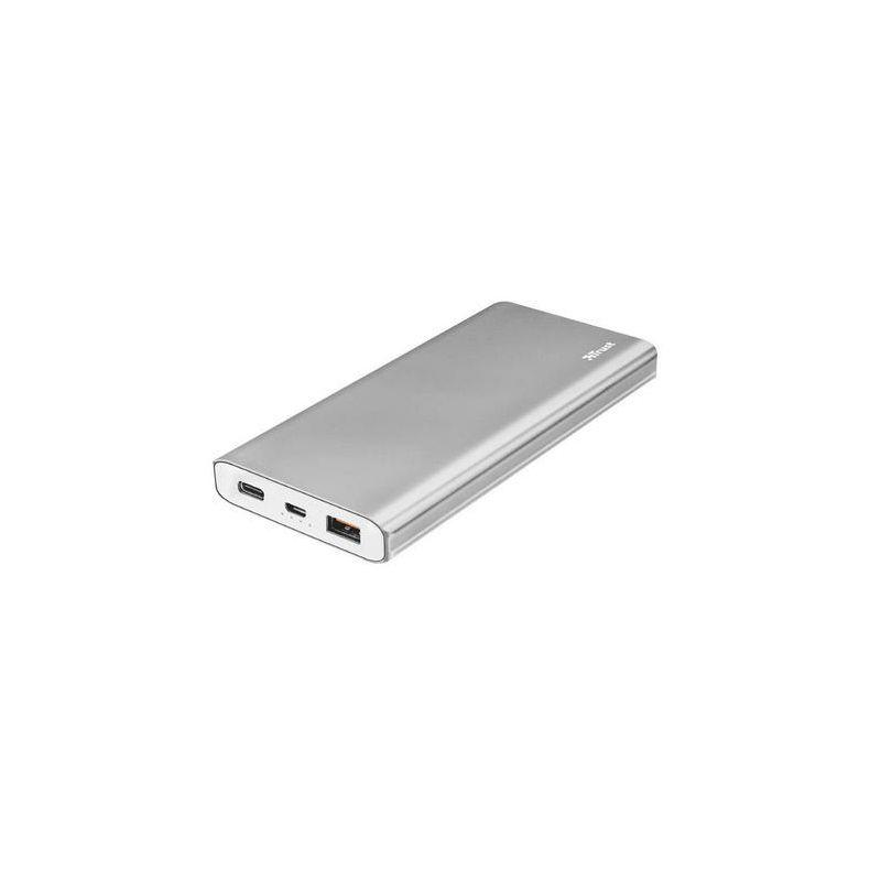 Trust powerbank, Omni Thin, 10000mAh, micro-USB + Type-C, srebrna
