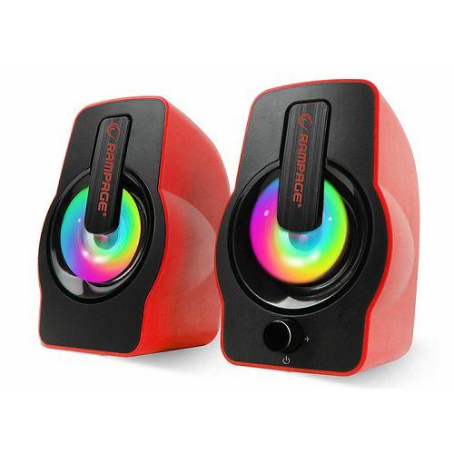 Zvučnici RAMPAGE RMS-G7 Falsetto, LED, 2.0, 6W, crveni